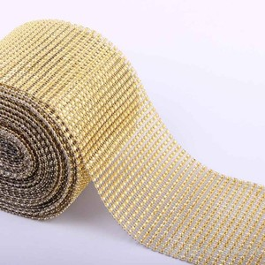 Gold 2- Rolls - 30 Ft - 10 Yards 24 Rows Diamond Mesh Wrap Roll Rhinestone Crystal Ribbon Trim Cake Decor Votive/Candle