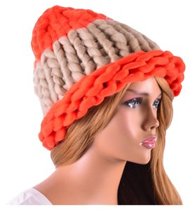 Other Finland Style Lovely and Warm Chic Chunky Big Yarn Knitted Orange and Beige Beanie Winter Cap Hat