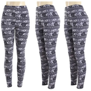 TD COllection Winter Warm Balck and white Leggings
