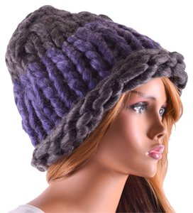 Other Finland Style Lovely and Warm Chic Chunky Big Yarn Knitted Purple and Gray Beanie Winter Cap Hat