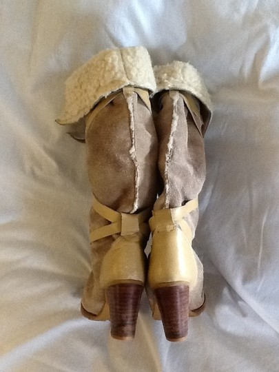 Vintage Paul Harris Suede Strappy Fleece Lined Tan Boots