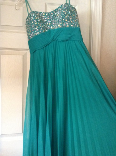 Cache Evening Long Embellished Empire Waist Green Dress