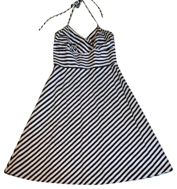 Item - Black and White Striped Short Casual Dress Size 4 (S)