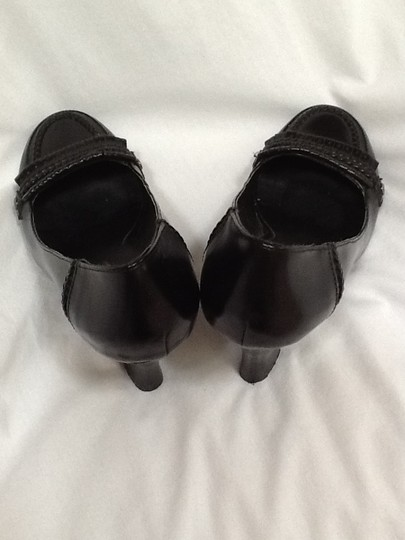 Two Lips Leather Black Wedges