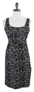 Diane von Furstenberg short dress Black Silver Floral Wool Blend Blend on Tradesy