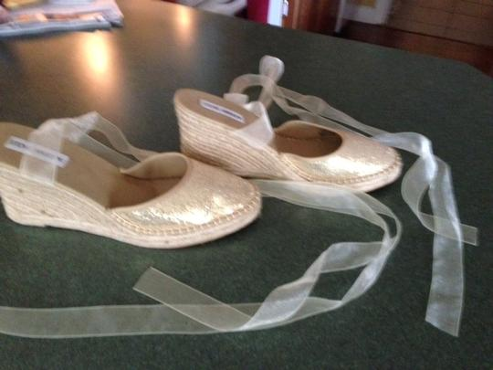 Steve Madden gold sparkly toe/natural bottom Wedges