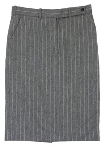 Céline Grey White Pinstripe Wool Blend Skirt