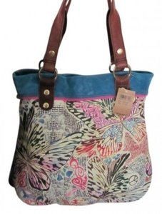 Lucky Brand Tote in Brown, cream, turquoise, pink