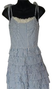 Betsey Johnson short dress Blue And White Striped Spring Ruffle Cream Lace Top Cotton Strapless Summer on Tradesy