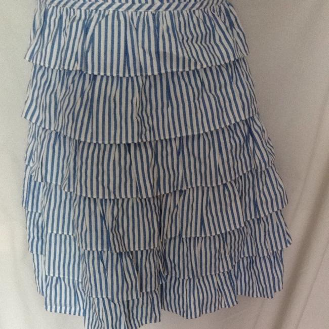 Betsey Johnson short dress Blue And White Striped Spring Ruffle Cream Lace Corset Top Cotton Strapless Summer on Tradesy