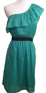 Gianni Bini One Shoulder Teal Dress- Size XS short dress on Tradesy