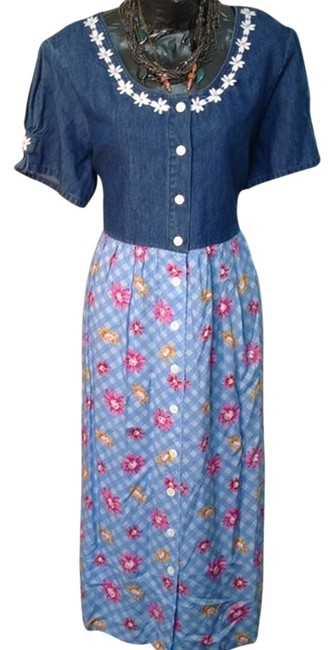 MULTI BLUE Maxi Dress by TRUE BLUE Sz Xl Size Extra Large Spring Jeans Jean Flower Demin