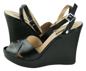 Longchamp Sandals Sandals Black Patent Leather Ankle Wrap Wedges