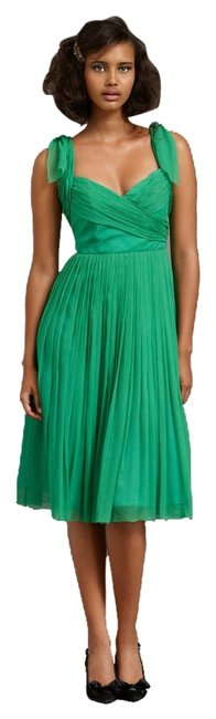 Item - Green Sway-and-swirl Mid-length Cocktail Dress Size 2 (XS)