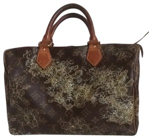 Louis Vuitton Speedy30 Leather Embroidered Satchel in gold