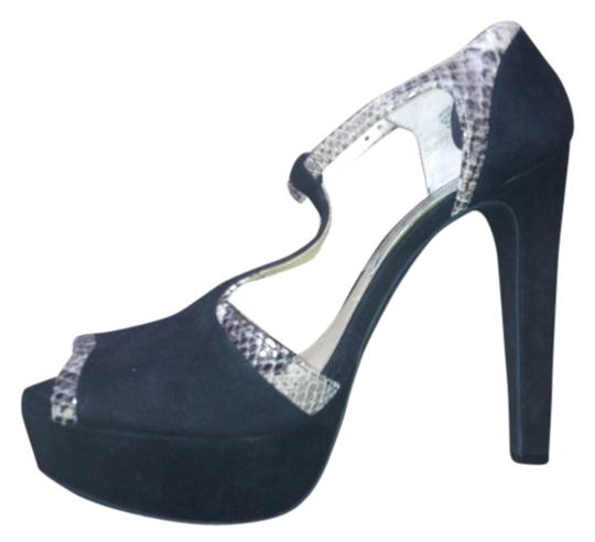 Michael Kors High Heel Leather Ankle Strap Black suede with snake trim Pumps