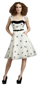 Anthropologie Vintage Retro Birds Monogram Velvet Dress