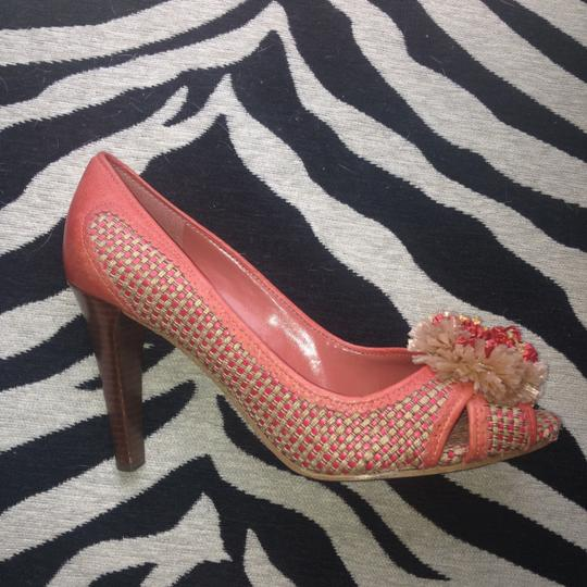 Enzo Angliolini Leather Fabric Multi Coral beige Pumps