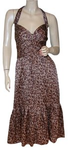BCBGMAXAZRIA short dress brown Silk Halter Swirl Fitted on Tradesy
