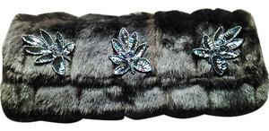 Tracey Vest Faux Ranch Mink Oversized Clutch with Navy Sequin applique Clutch