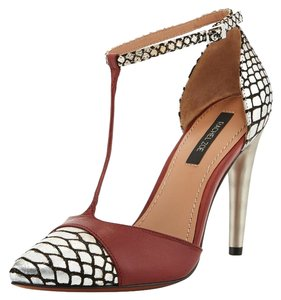 Rachel Zoe Pointed Toe Animal Print New Burgundy Silver and Black Pumps