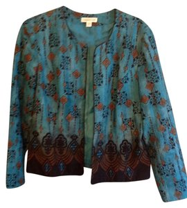 Coldwater Creek Turquoise with black border print Blazer