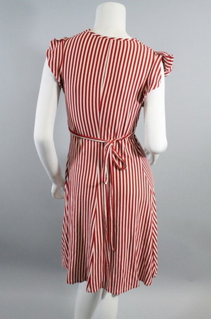Betsey Johnson short dress Red White Striped Candy Stripe Ruffle Puff Sleeve Tie Wrap on Tradesy