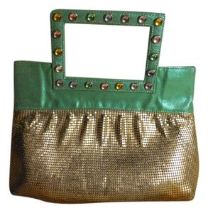 Whiting & Davis Metal Mesh Leather green & silver Clutch