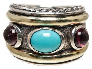 David Yurman David Yurman Sterling Silver and Gold Turquoise Ring (Size 6)