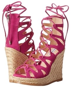 Steve Madden Pink Strappy Wedge Fuchsia Sandals