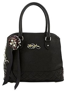Betsey Johnson Quilted Pvc Satchel in BLACK