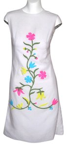 Vintage short dress White Sheath Scooter Mod 60s Madmen A Line Embroidered Flower Power Spring Summer on Tradesy