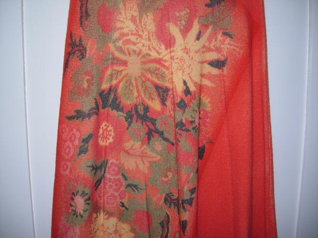 Maria di Ripabianca Skirt Coral red with yellow and green flowers