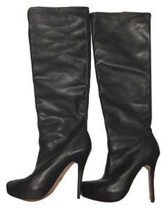 Jean-Michel Cazabat Over-the-knee Leather Thigh High Black Boots