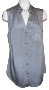 Magaschoni Silk Button Down Shirt grey