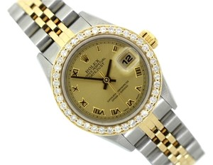 Rolex LADIES ROLEX DATEJUST 1.5CT DIAMOND GOLD BEZEL