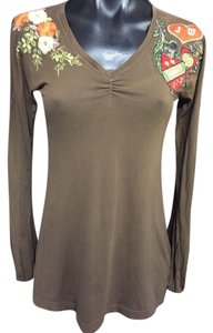 Johnny Was Embroidered Longsleeve V-neck Top Brown
