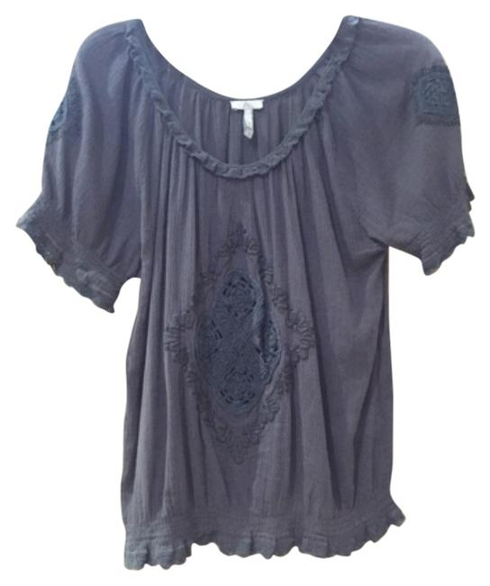 Joie Gray Embroidered Short Sleeve Cotton Hand Wash Blouse Size 12 (L) Joie Gray Embroidered Short Sleeve Cotton Hand Wash Blouse Size 12 (L) Image 1