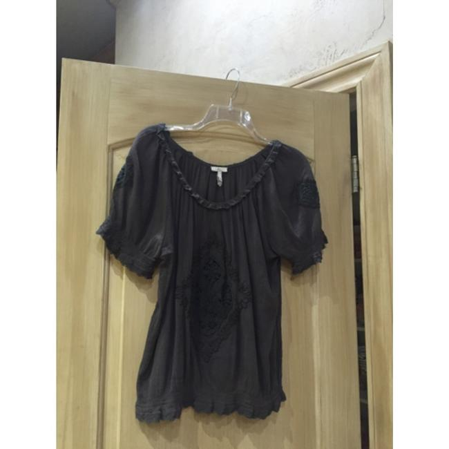 Joie Gray Embroidered Short Sleeve Cotton Hand Wash Blouse Size 12 (L) Joie Gray Embroidered Short Sleeve Cotton Hand Wash Blouse Size 12 (L) Image 8