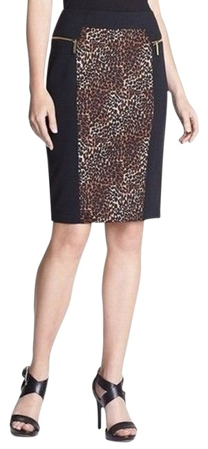 Michael Kors Pencil Skirt Leopard Brown Black