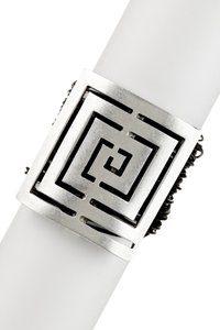 Chanour Geometric Hardware Embellished & Leather Cord Bracelet