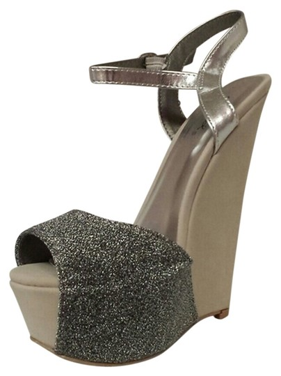 Qupid Pewter Wedges