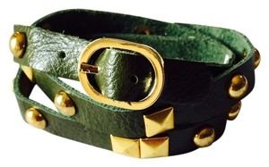 Nakamol Olive Rocker Studs Leather Wrap Cuff