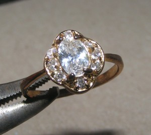 Vintage Style White Sapphire Engagement Ring Free Shipping
