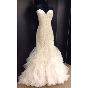 Allure Bridals Ivory Champagne Lace 9254 Formal Wedding Dress Size 8 (M)