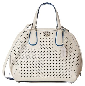 Coach Saddle Signature Prince Street Dome 35091 35159 34705 F37405 ;eather Perorated Satchel in White Blue