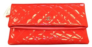 Chanel Patent Leather Folding Fold Over Red Clutch