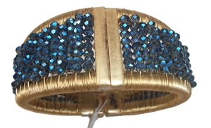 Kenneth Cole Kenneth Cole Bracelet Faceted Blue Bead Hinged Bangle Cuff