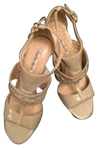 Charles David Patent Nude Stilleto Nude, Taupe Sandals