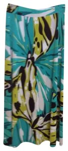 Jones New York Maxi Skirt Teal Lime Black & White